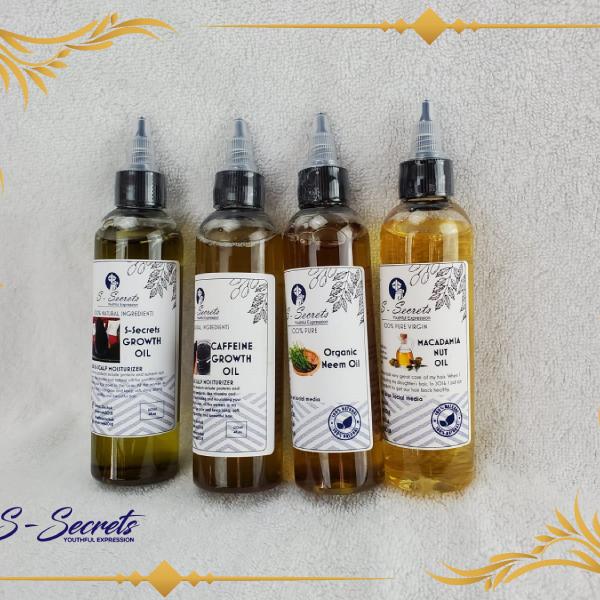 S-Secrets Growth Oil, Caffeine Growth Oil, Organic Neem oil, and Macadamia nut oil(4) 4oz bottle