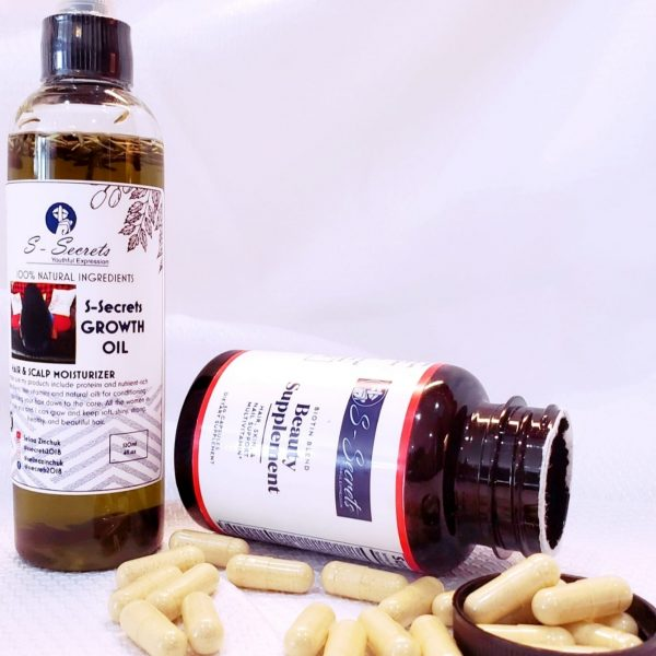 S-Secrets Growth Oil 4oz & 1 Bottle Of S-Secrets Advanced Biotin Blend Beauty Supplement Hair, Skin, Nail Vitamins